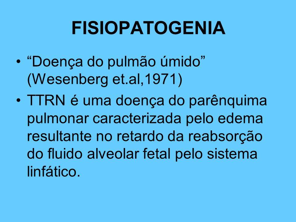 FISIOPATOGENIA Doença do pulmão úmido (Wesenberg et.al,1971) TTRN é uma doença do parênquima pulmonar caracterizada pelo edema resultante no retardo d