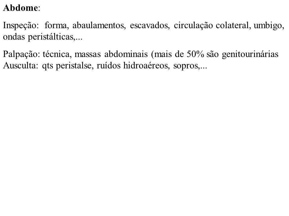 Abdome: Inspeção: forma, abaulamentos, escavados, circulação colateral, umbigo, ondas peristálticas,... Palpação: técnica, massas abdominais (mais de