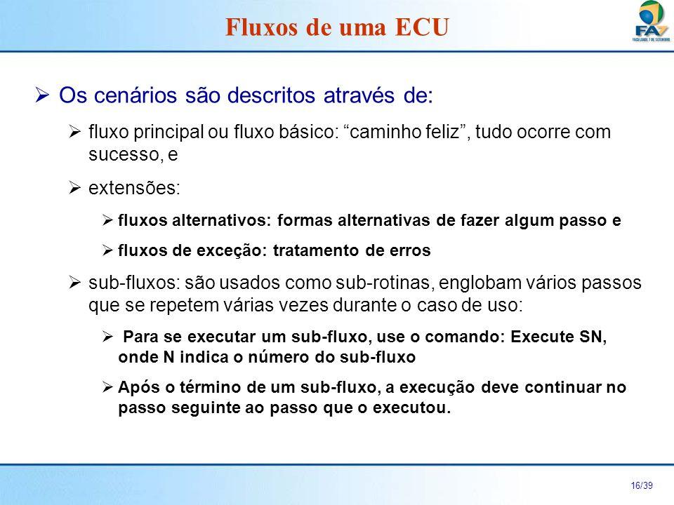 17/39 Pré-condição Fluxo Principal Fluxos Alternativos ou Fluxos de Exceções Pós-Condição Fluxos de uma ECU