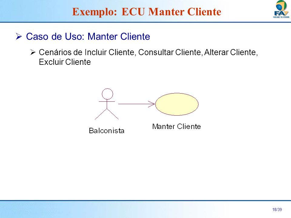 19/39 Anexo 1: Tela Manter Cliente Exemplo: ECU Manter Cliente Código: Nome: Manter Cliente IncluirConsultarAlterarExcluir