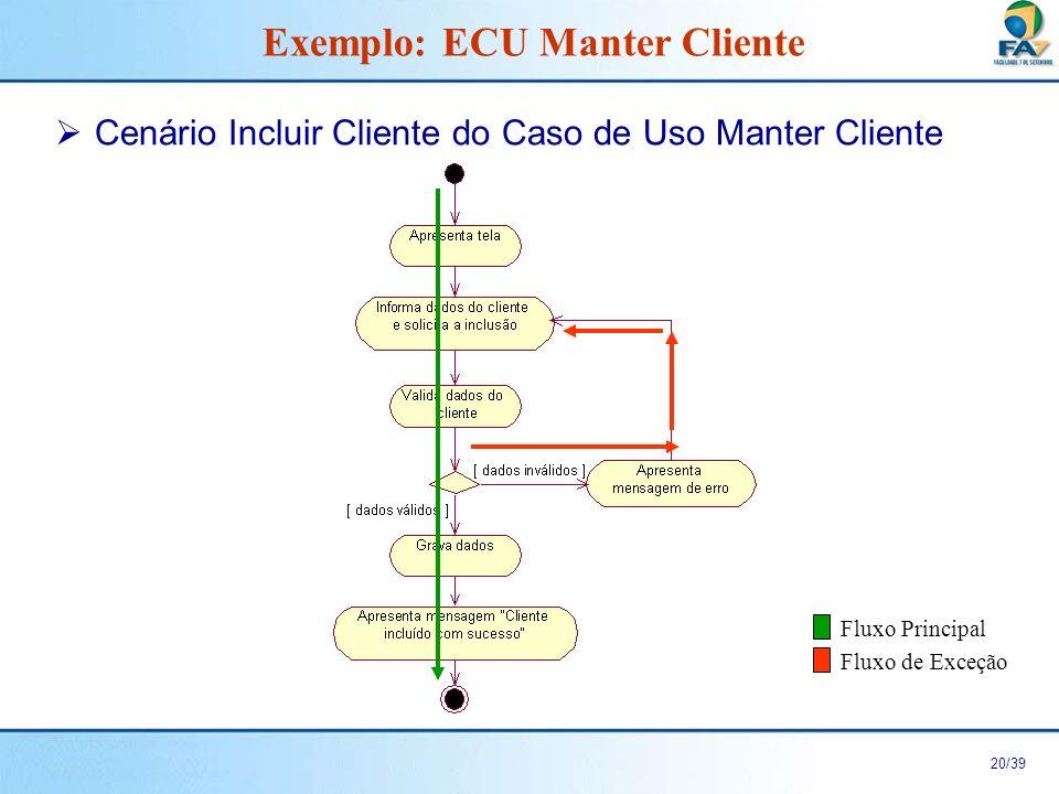 21/39 Fluxo Principal do Cenário Incluir Cliente do Caso de Uso Manter Cliente 1.Este caso de uso inicia quando o ator Balconista solicita o caso de uso Manter Cliente.