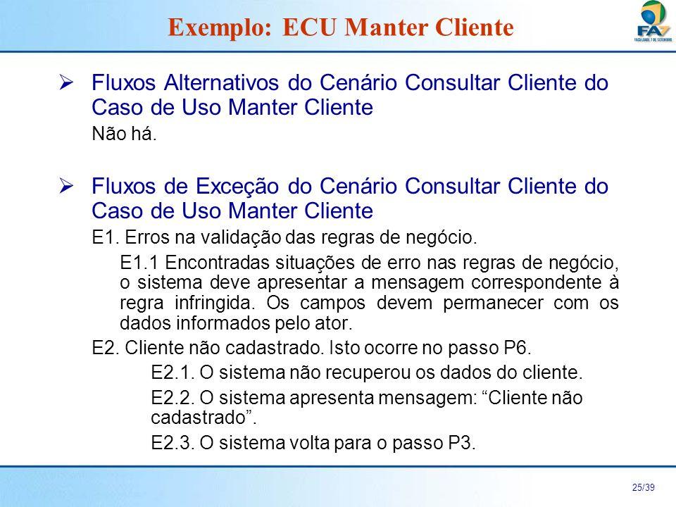 26/39 Cenário Alterar Cliente do Caso de Uso Manter Cliente Exemplo: ECU Manter Cliente Fluxo Principal Fluxo Alternativo Fluxo de Exceção