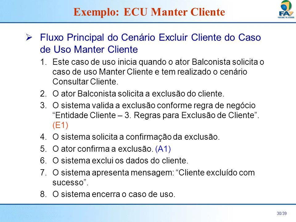 31/39 Fluxos Alternativos do Cenário Excluir Cliente do Caso de Uso Manter Cliente A1.