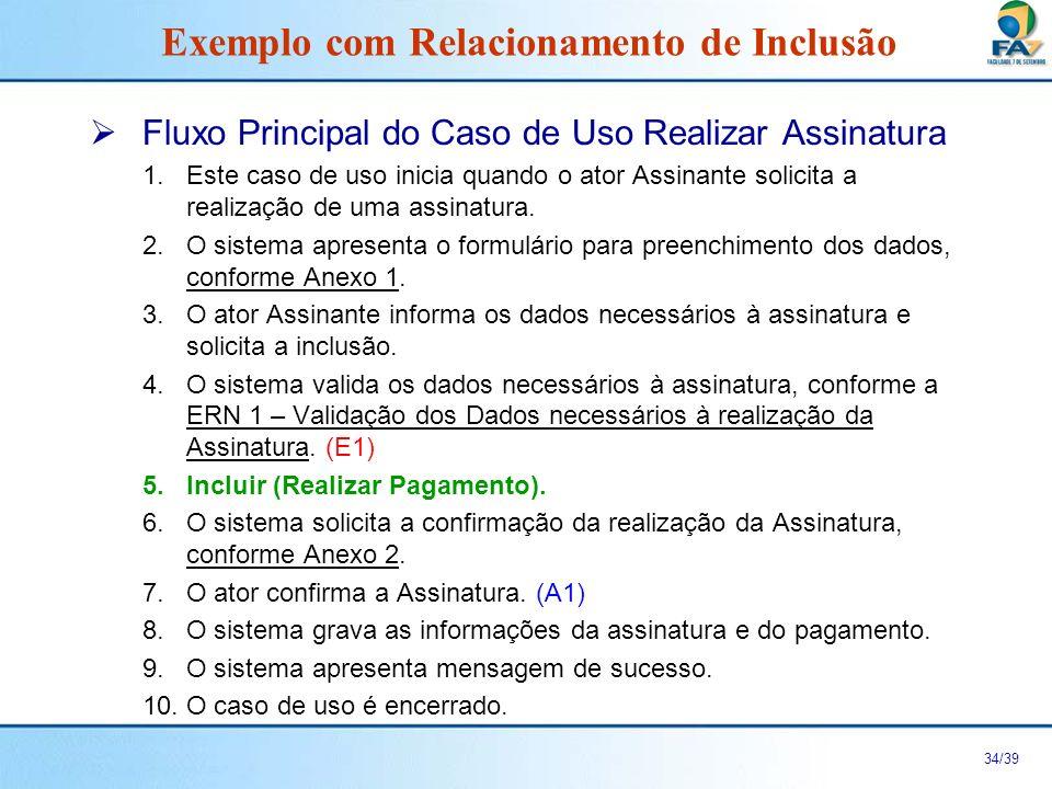 35/39 Fluxo Alternativo A1: O ator não confirmou a Assinatura no passo P7.