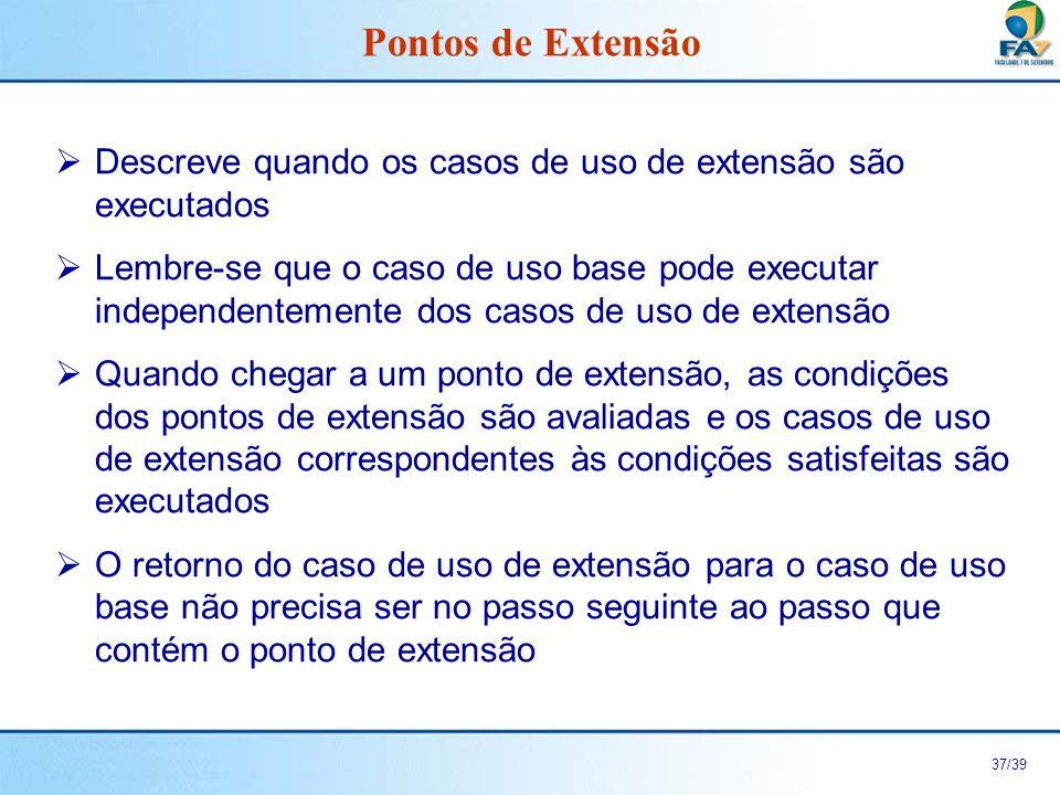 38/39 Exemplos de Pontos de Extensão.