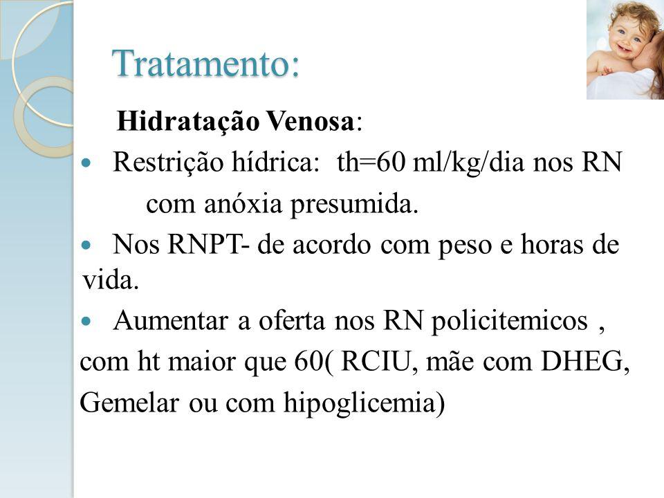 Tratamento: Hidratação Venosa: Restrição hídrica: th=60 ml/kg/dia nos RN com anóxia presumida. Nos RNPT- de acordo com peso e horas de vida. Aumentar