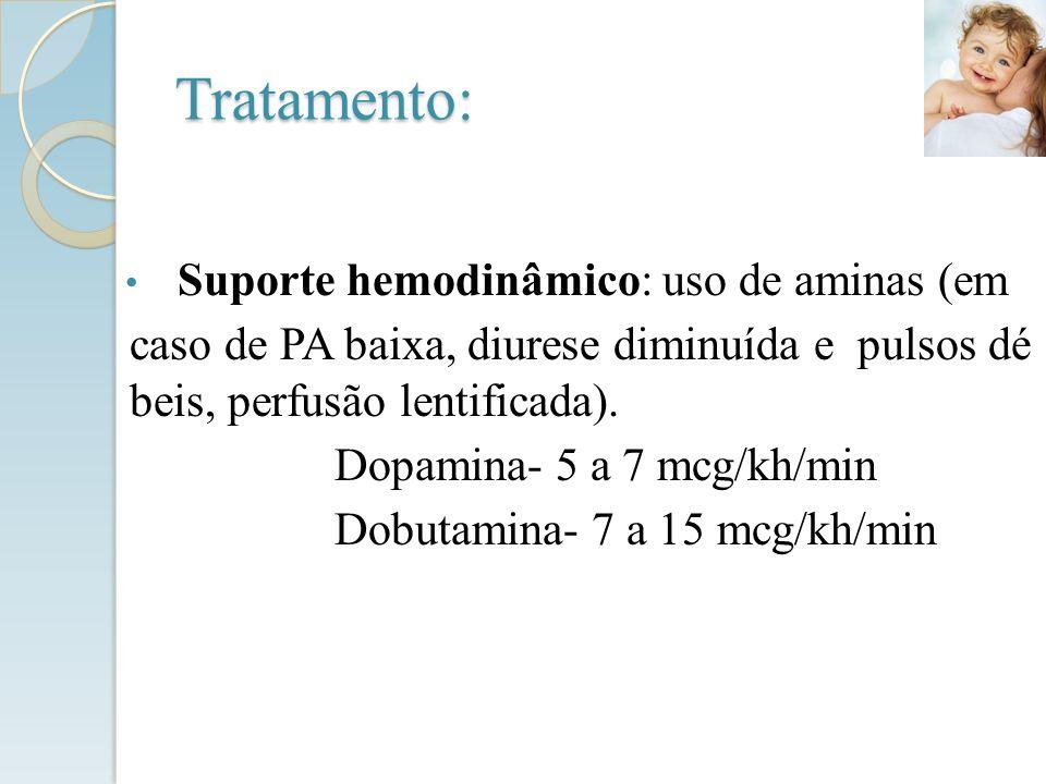 Tratamento: Suporte hemodinâmico: uso de aminas (em caso de PA baixa, diurese diminuída e pulsos dé beis, perfusão lentificada). Dopamina- 5 a 7 mcg/k