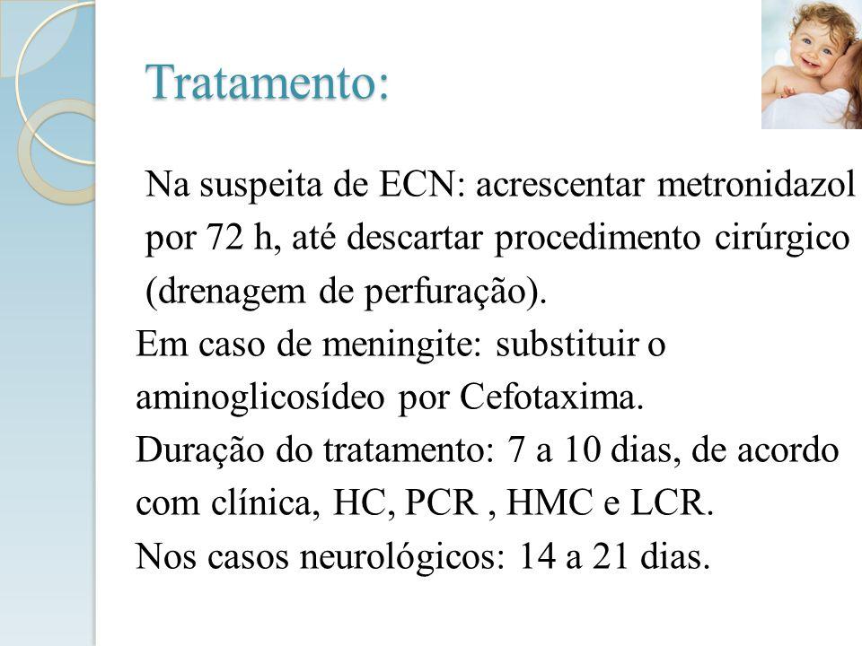 Na suspeita de ECN: acrescentar metronidazol por 72 h, até descartar procedimento cirúrgico (drenagem de perfuração). Em caso de meningite: substituir