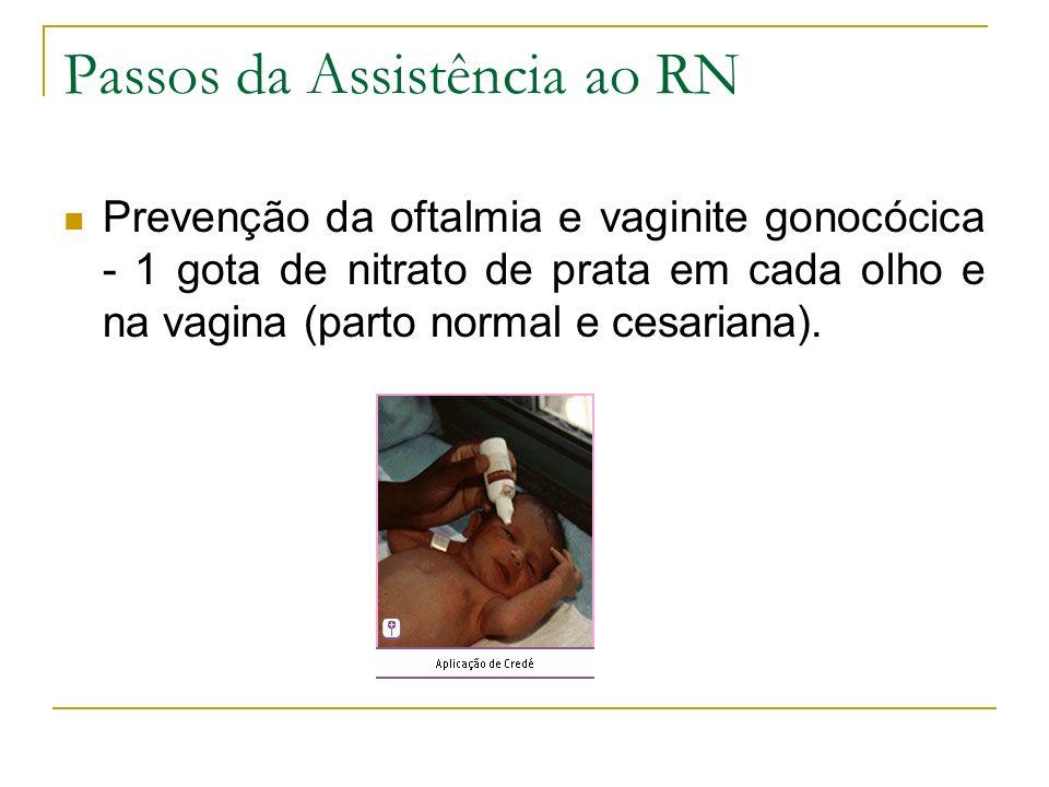 Passos da Assistência ao RN Prevenção da oftalmia e vaginite gonocócica - 1 gota de nitrato de prata em cada olho e na vagina (parto normal e cesarian
