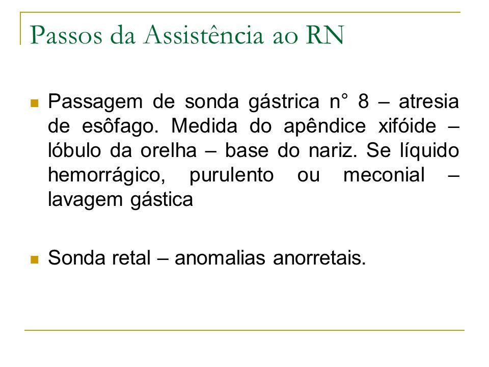 Passos da Assistência ao RN Passagem de sonda gástrica n° 8 – atresia de esôfago. Medida do apêndice xifóide – lóbulo da orelha – base do nariz. Se lí