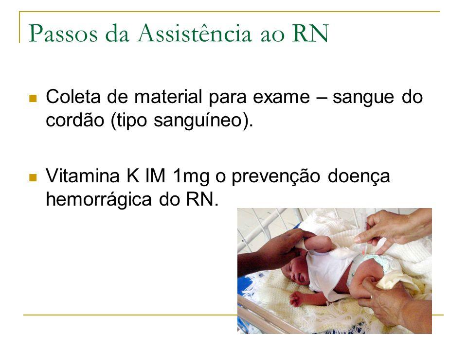 Passos da Assistência ao RN Coleta de material para exame – sangue do cordão (tipo sanguíneo). Vitamina K IM 1mg o prevenção doença hemorrágica do RN.