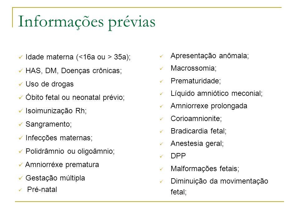 Informações prévias Apresentação anômala; Macrossomia; Prematuridade; Líquido amniótico meconial; Amniorrexe prolongada Corioamnionite; Bradicardia fe