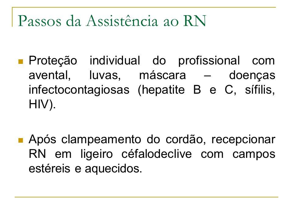 Passos da Assistência ao RN Proteção individual do profissional com avental, luvas, máscara – doenças infectocontagiosas (hepatite B e C, sífilis, HIV