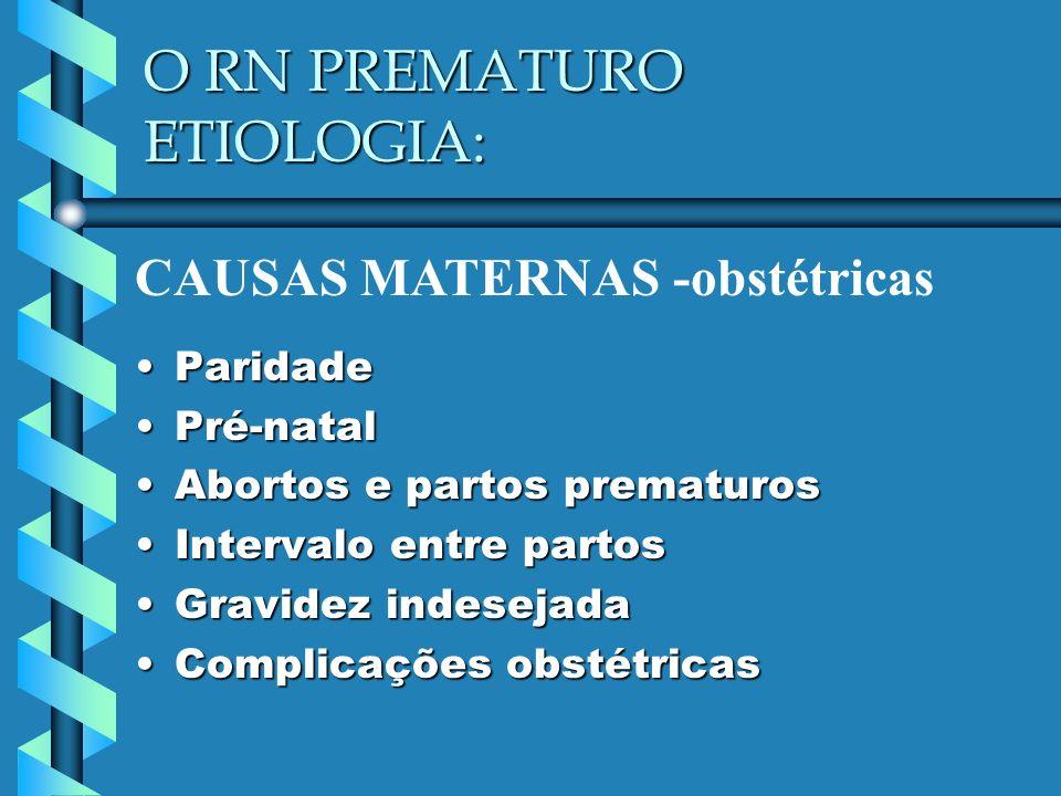 O RN PREMATURO ETIOLOGIA: ParidadeParidade Pré-natalPré-natal Abortos e partos prematurosAbortos e partos prematuros Intervalo entre partosIntervalo e