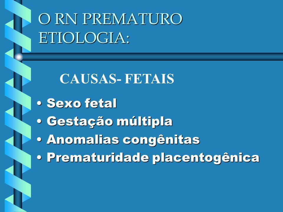 O RN PREMATURO ETIOLOGIA: Sexo fetalSexo fetal Gestação múltiplaGestação múltipla Anomalias congênitasAnomalias congênitas Prematuridade placentogênic