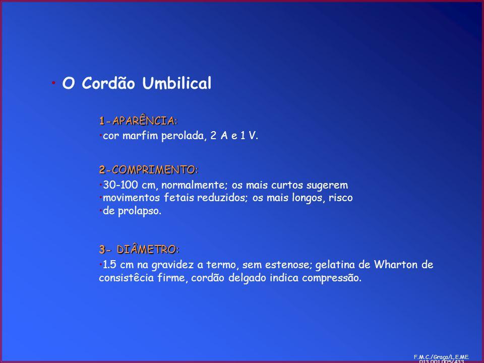 O Cordão Umbilical 1-APARÊNCIA: cor marfim perolada, 2 A e 1 V. 2-COMPRIMENTO: 30-100 cm, normalmente; os mais curtos sugerem movimentos fetais reduzi