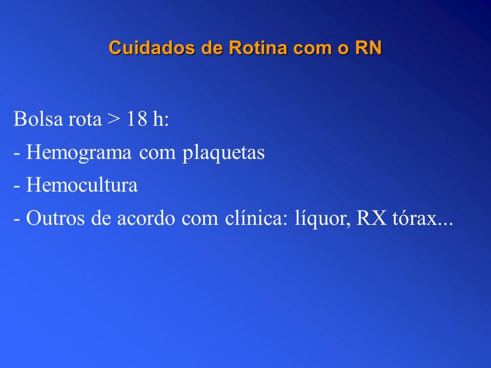 Cuidados de Rotina com o RN Bolsa rota > 18 h: - Hemograma com plaquetas - Hemocultura - Outros de acordo com clínica: líquor, RX tórax...