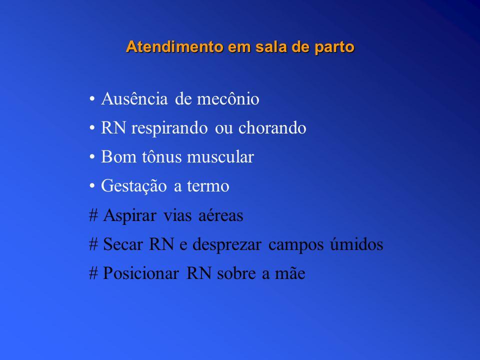 Atendimento em sala de parto Ausência de mecônio RN respirando ou chorando Bom tônus muscular Gestação a termo # Aspirar vias aéreas # Secar RN e desp
