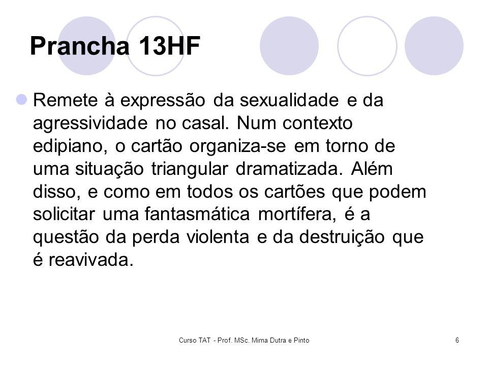Curso TAT - Prof. MSc. Mirna Dutra e Pinto6 Prancha 13HF Remete à expressão da sexualidade e da agressividade no casal. Num contexto edipiano, o cartã