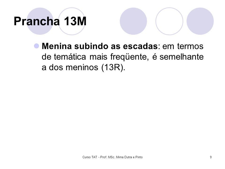 Curso TAT - Prof. MSc. Mirna Dutra e Pinto9 Prancha 13M Menina subindo as escadas: em termos de temática mais freqüente, é semelhante a dos meninos (1