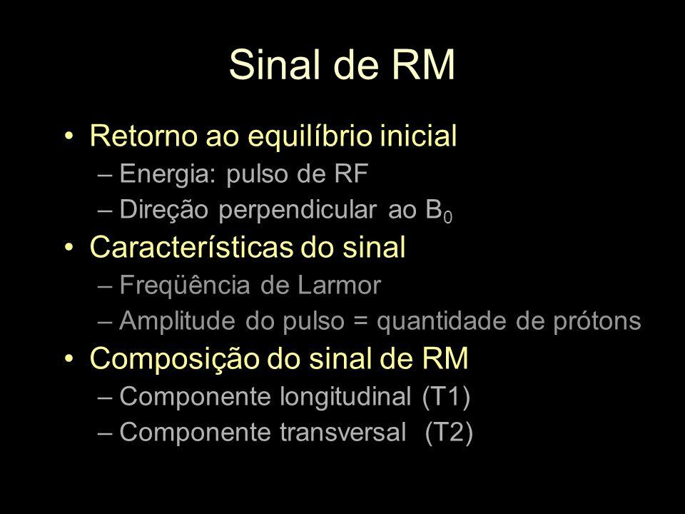 Sinal de RM Retorno ao equilíbrio inicial –Energia: pulso de RF –Direção perpendicular ao B 0 Características do sinal –Freqüência de Larmor –Amplitud