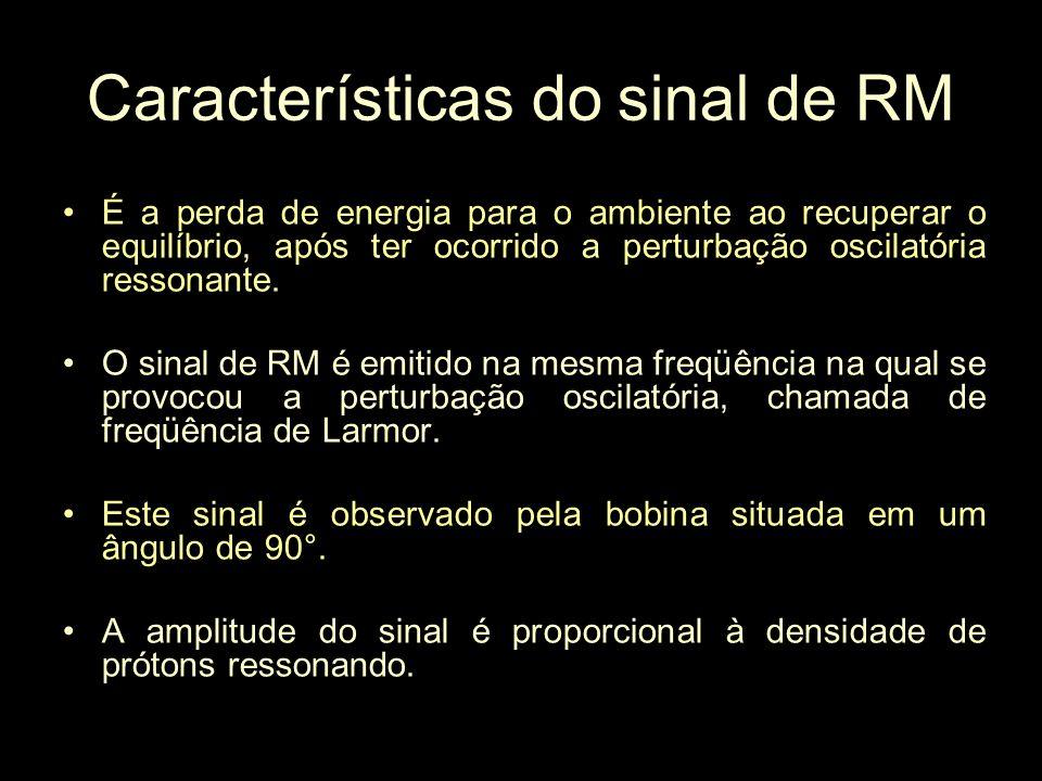 Características do sinal de RM É a perda de energia para o ambiente ao recuperar o equilíbrio, após ter ocorrido a perturbação oscilatória ressonante.