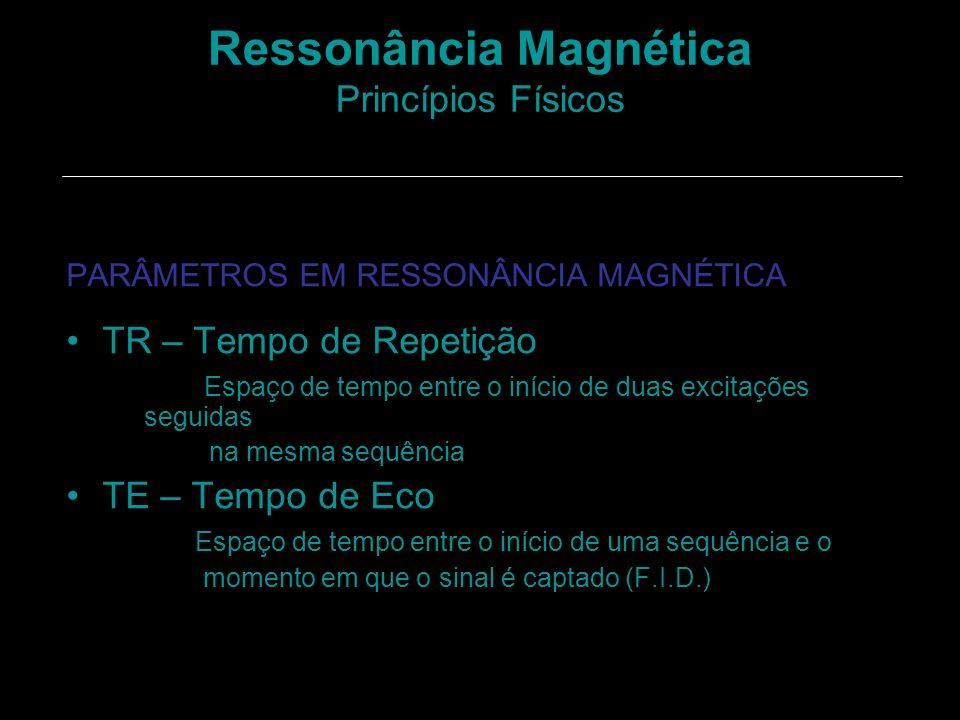 Ressonância Magnética Princípios Físicos PARÂMETROS EM RESSONÂNCIA MAGNÉTICA TR – Tempo de Repetição Espaço de tempo entre o início de duas excitações