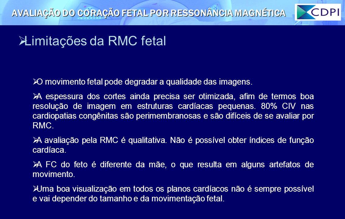 Limitações da RMC fetal O movimento fetal pode degradar a qualidade das imagens. A espessura dos cortes ainda precisa ser otimizada, afim de termos bo