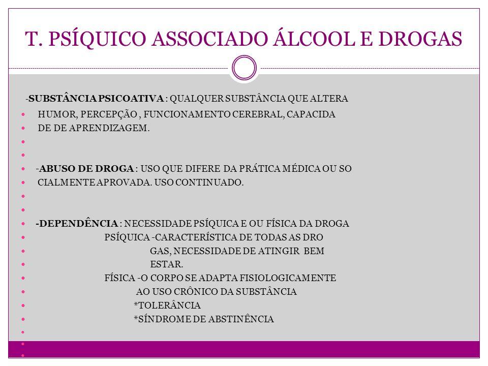 T. PSÍQUICO ASSOCIADO ÁLCOOL E DROGAS - SUBSTÂNCIA PSICOATIVA : QUALQUER SUBSTÂNCIA QUE ALTERA HUMOR, PERCEPÇÃO, FUNCIONAMENTO CEREBRAL, CAPACIDA DE D