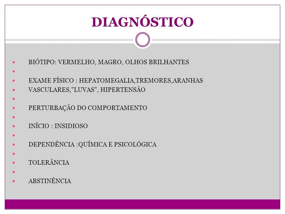 DIAGNÓSTICO BIÓTIPO: VERMELHO, MAGRO, OLHOS BRILHANTES EXAME FÍSICO : HEPATOMEGALIA,TREMORES,ARANHAS VASCULARES,LUVAS, HIPERTENSÃO PERTURBAÇÃO DO COMPORTAMENTO INÍCIO : INSIDIOSO DEPENDÊNCIA :QUÍMICA E PSICOLÓGICA TOLERÂNCIA ABSTINÊNCIA