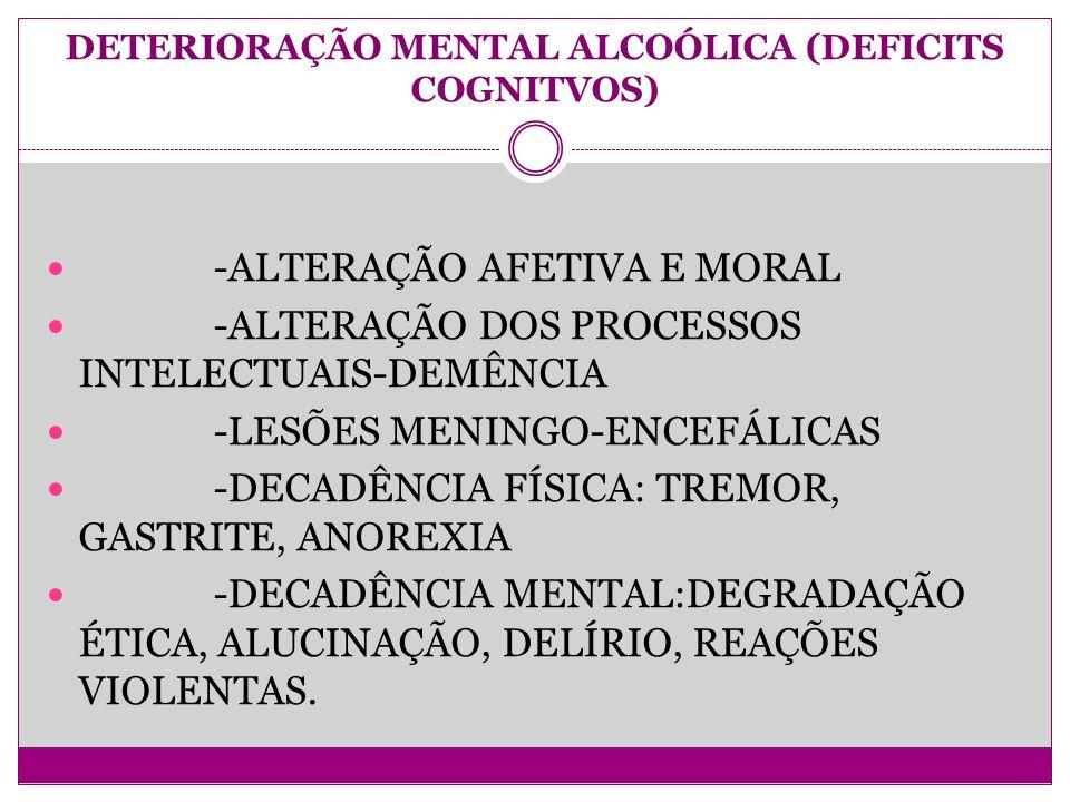 DETERIORAÇÃO MENTAL ALCOÓLICA (DEFICITS COGNITVOS) -ALTERAÇÃO AFETIVA E MORAL -ALTERAÇÃO DOS PROCESSOS INTELECTUAIS-DEMÊNCIA -LESÕES MENINGO-ENCEFÁLICAS -DECADÊNCIA FÍSICA: TREMOR, GASTRITE, ANOREXIA -DECADÊNCIA MENTAL:DEGRADAÇÃO ÉTICA, ALUCINAÇÃO, DELÍRIO, REAÇÕES VIOLENTAS.