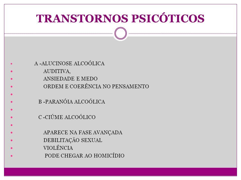 TRANSTORNOS PSICÓTICOS A -ALUCINOSE ALCOÓLICA AUDITIVA, ANSIEDADE E MEDO ORDEM E COERÊNCIA NO PENSAMENTO B -PARANÓIA ALCOÓLICA C -CIÚME ALCOÓLICO APARECE NA FASE AVANÇADA DEBILITAÇÃO SEXUAL VIOLÊNCIA PODE CHEGAR AO HOMICÍDIO
