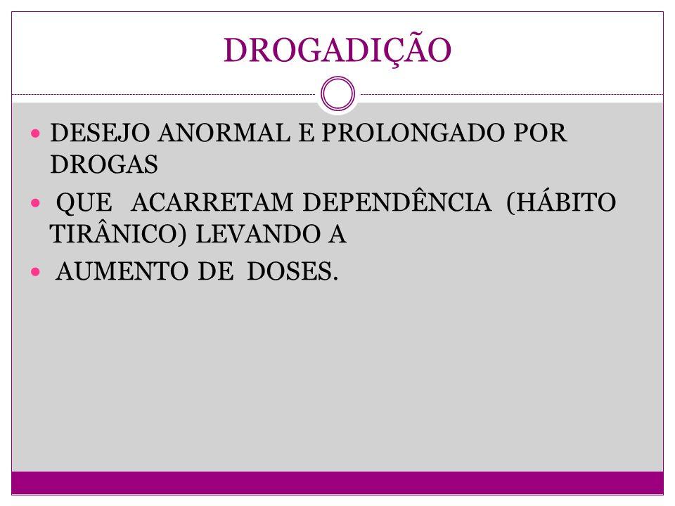 DROGADIÇÃO DESEJO ANORMAL E PROLONGADO POR DROGAS QUE ACARRETAM DEPENDÊNCIA (HÁBITO TIRÂNICO) LEVANDO A AUMENTO DE DOSES.