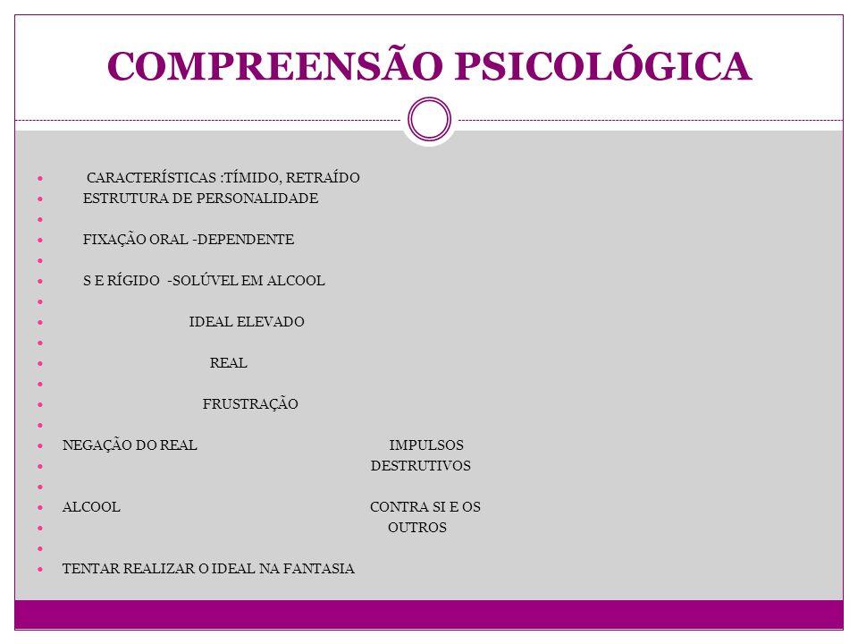 COMPREENSÃO PSICOLÓGICA CARACTERÍSTICAS :TÍMIDO, RETRAÍDO ESTRUTURA DE PERSONALIDADE FIXAÇÃO ORAL -DEPENDENTE S E RÍGIDO -SOLÚVEL EM ALCOOL IDEAL ELEVADO REAL FRUSTRAÇÃO NEGAÇÃO DO REAL IMPULSOS DESTRUTIVOS ALCOOL CONTRA SI E OS OUTROS TENTAR REALIZAR O IDEAL NA FANTASIA
