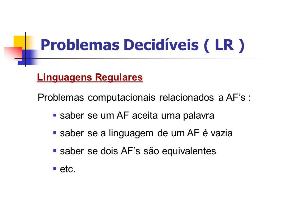 Problemas Decidíveis ( LR ) Podemos formular problemas computacionais em termos de teste de pertinência em uma linguagem.