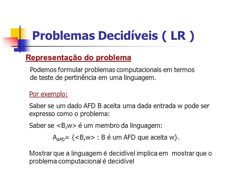 Problemas Decidíveis ( LR ) Teorema 18: A AFD é uma linguagem decidível.