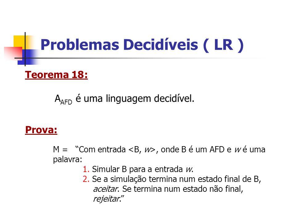 Problemas Decidíveis ( LR ) A AFND = { : B é um AFND que aceita w} é decidível.