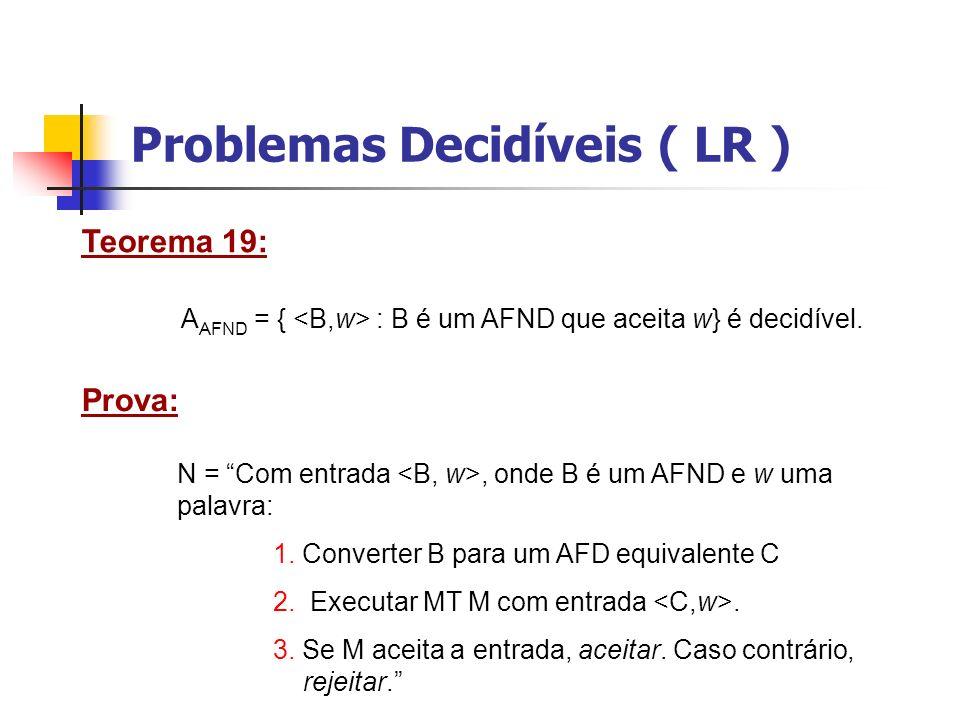 Problemas Decidíveis ( LR ) Teorema 20: E AFD = { : A é um AFD e L(A) = Ø} é decidível.