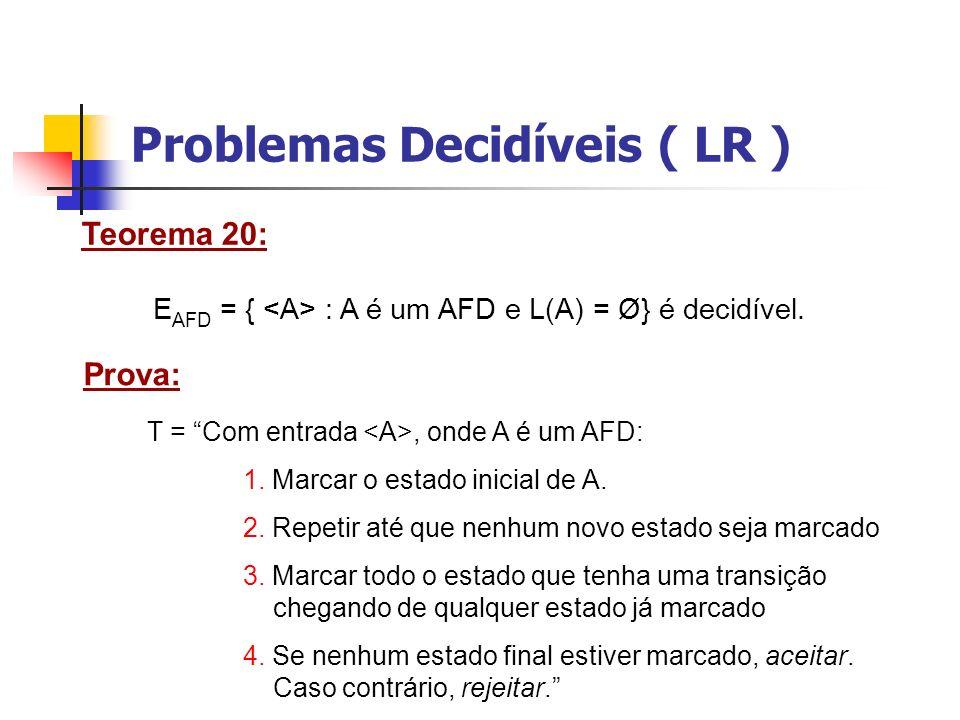 Problemas Decidíveis ( LR ) Teorema 21: EQ AFD = { : A e B são AFDs e L(A) = L(B) } é decidível.