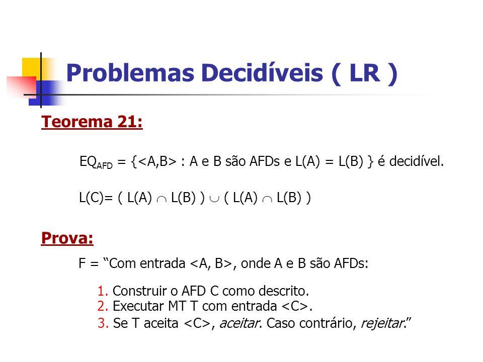 Teorema da Recursão R = entrada w Prova: 2.Computar t(,w) 1.