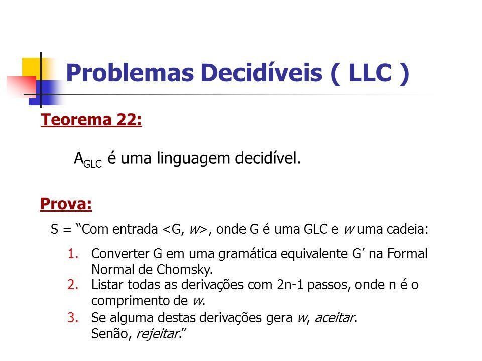 Problemas Decidíveis ( LLC ) Teorema 23: E GLC = { | G é uma GLC e L(G) = } é decidível.