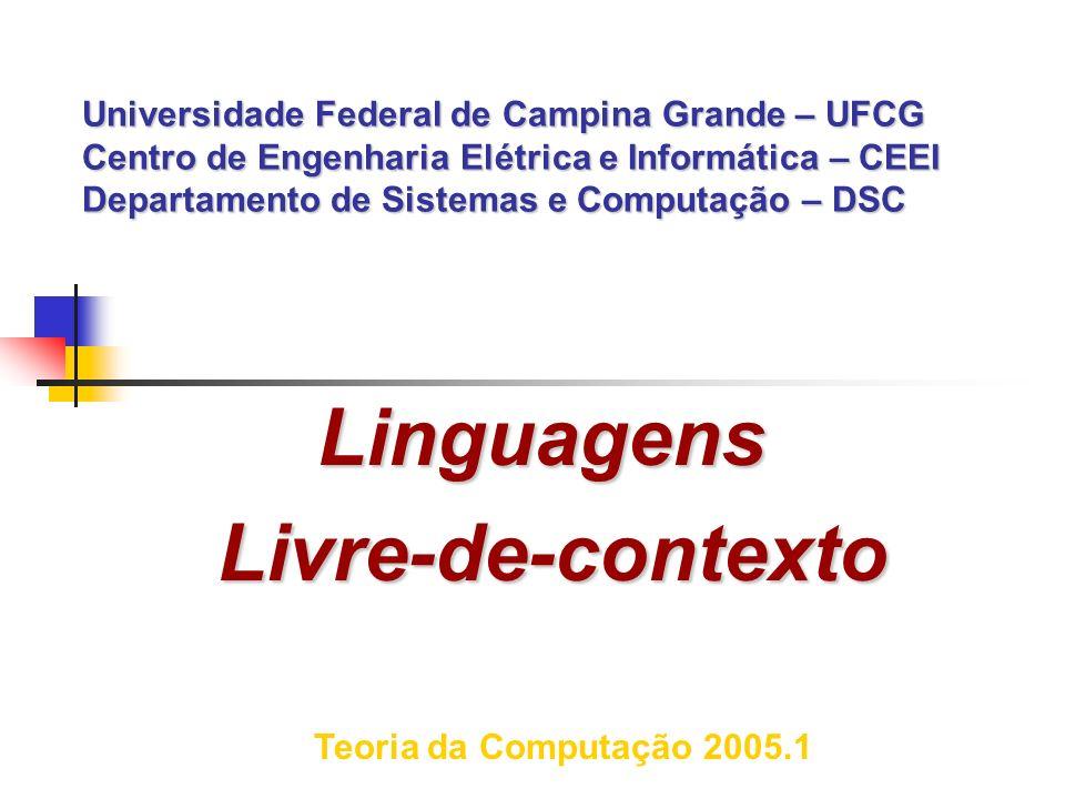 Hierarquia de Chomsky Linguagens Regulares (tipo 3) AFND,AFD ----- Gramáticas Regulares (lineares), Expressões regulares Linguagens Livre-de-Contexto (tipo 2) APND ------- Gramáticas livre-de-contexto APD ---------- Gramáticas não-ambíguas Linguagens Sensíveis-ao-Contexto (tipo 1) LBA ----------- Gramáticas Sensíveis-ao-contexto Linguagens em Geral (tipo 0) Máquina de Turing ------ Gramáticas tipo 0.