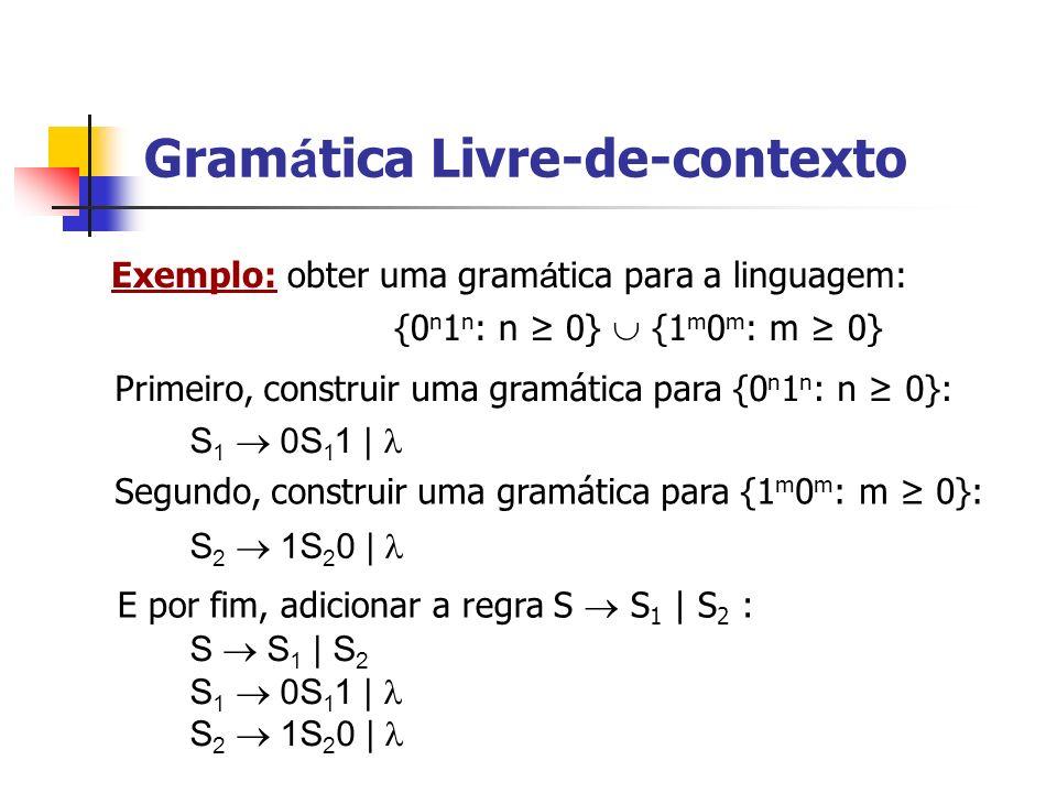 Exemplo: obter uma gram á tica para a linguagem: {0 n 1 n : n 0} {1 m 0 m : m 0} Gram á tica Livre-de-contexto S 1 0S 1 1 | S 2 1S 2 0 | S S 1 | S 2 S
