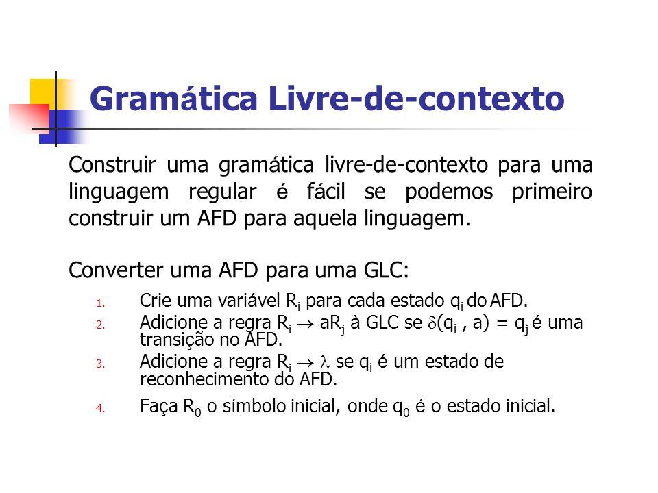 Construir uma gram á tica livre-de-contexto para uma linguagem regular é f á cil se podemos primeiro construir um AFD para aquela linguagem. Converter