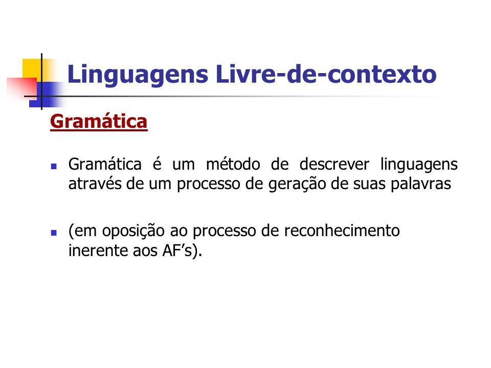 Linguagens Livre-de-contexto Gramática Gramática é um método de descrever linguagens através de um processo de geração de suas palavras (em oposição a