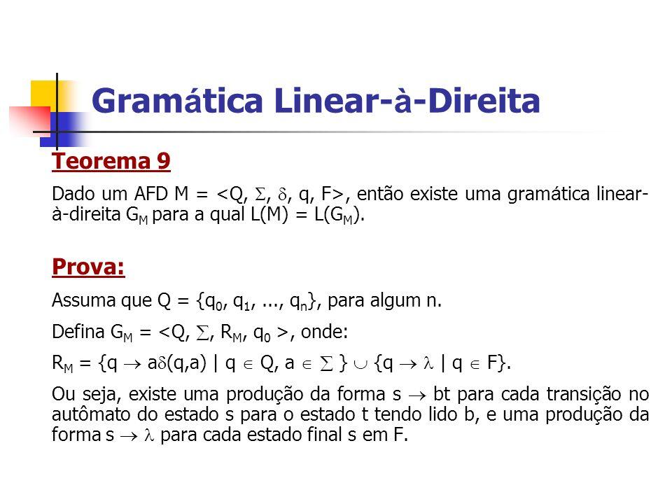 Teorema 9 Dado um AFD M =, então existe uma gram á tica linear- à -direita G M para a qual L(M) = L(G M ). Prova: Assuma que Q = {q 0, q 1,..., q n },