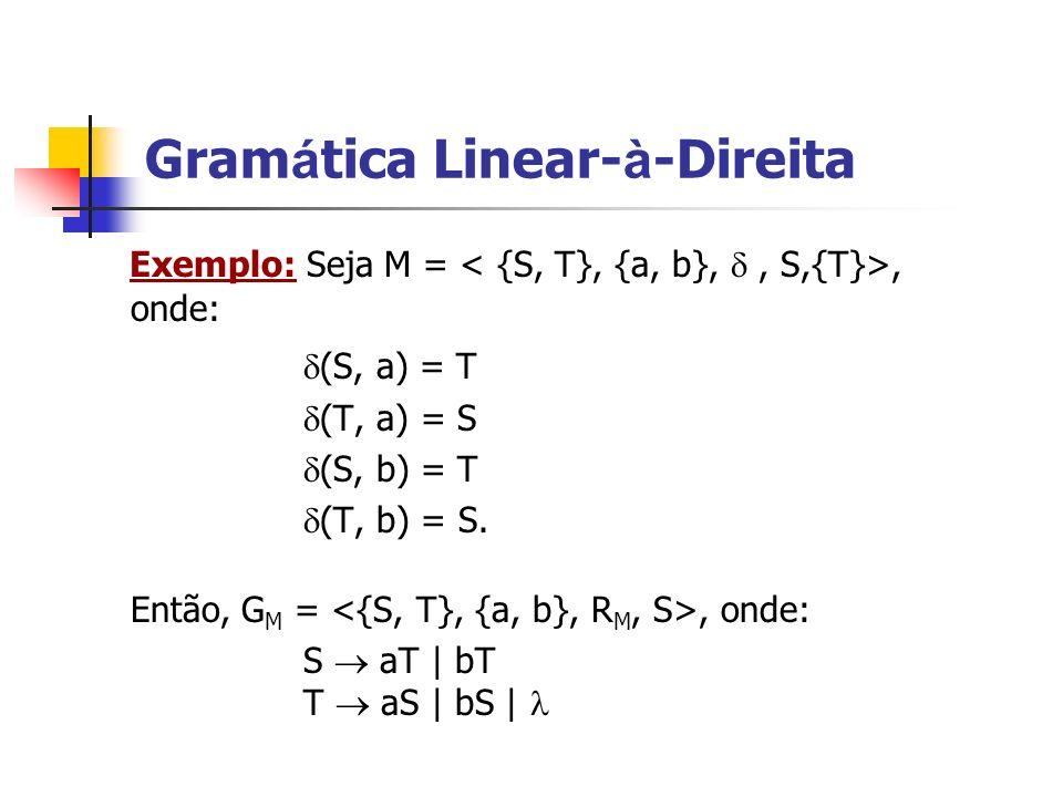 Exemplo: Seja M =, onde: (S, a) = T (T, a) = S (S, b) = T (T, b) = S. Então, G M =, onde: S aT | bT T aS | bS | Gram á tica Linear- à -Direita