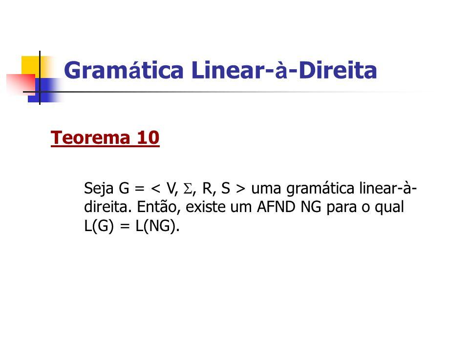 Teorema 10 Seja G = uma gramática linear-à- direita. Então, existe um AFND NG para o qual L(G) = L(NG).