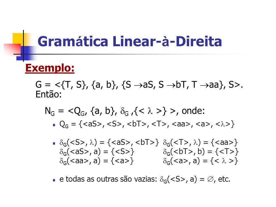 Exemplo: G =. Então: N G = } >, onde: Q G = {,,,,,, } G (, ) = {, } G (, ) = { } G (, a) = { } G (, b) = { } G (, a) = { } G (, a) = { } e todas as ou