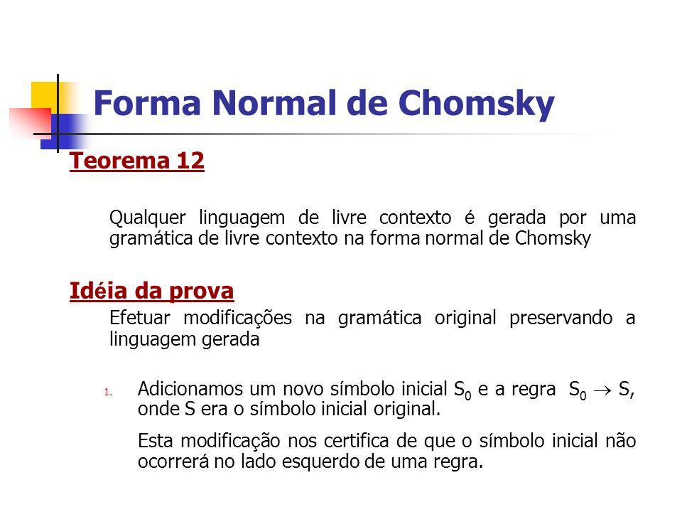 Teorema 12 Qualquer linguagem de livre contexto é gerada por uma gram á tica de livre contexto na forma normal de Chomsky Id é ia da prova Efetuar mod